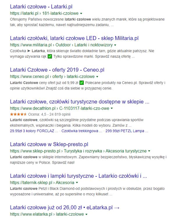 wyszukiwanie google - latarki czo艂owe