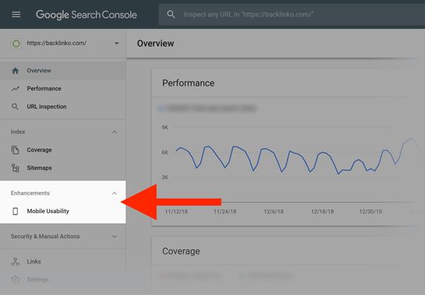google search console - mobile usability